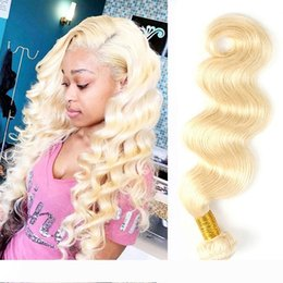 body wave hair one piece Canada - Malaysian Virgin Hair Double Wefts Body Wave Blonde Of 613 Color 1 Piece One Lot One Bundle 10-32inch Light Blonde