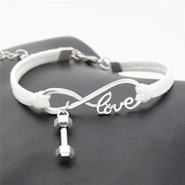 $enCountryForm.capitalKeyWord Australia - Hot Sell Silver Color PInfinity Love Barbell Dumbbell Fitness Pendant Bracelet New Fashion Design White Leather Suede Luxury Wedding Jewelry