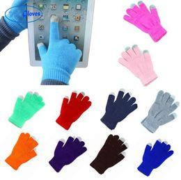 Nouveau Femmes Hommes Gants d'hiver d'écran tactile Gants chauds Solide Couleur Coton chaud téléphones intelligents gants de conduite d'hiver femmes Gants de en Solde