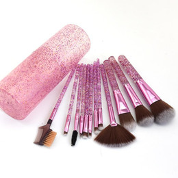 12 eye shadow powders Canada - New 12 PCS Pink Acrylic Sequins Makeup Brushes Set Professional Lightweight Facial Eye Shadow Powder Make Up Brush Pen Holder