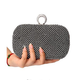 Hollow Fingers Australia - Diamond Rhinestone Evening Clutch Bag Handmade Finger Ring Handbag Purse Evening Wedding Party Bag Silver Black Gold