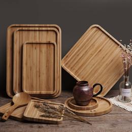 Großhandel Rund Quadrat Holz Platten-Teller Sushi Platter Teller Dessert Biscuits Teller Schüssel Tee-Server Tray-Becherhalter-Pad 12 Größen Anpassbare VT0406