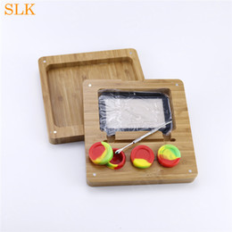 bamboo oils Australia - Bamboo Wooden Silicone Combinate dab containers storage tobacco rolling cigarette tray Silicone Smoke Jar DAB Wax Oil Concentrate Container
