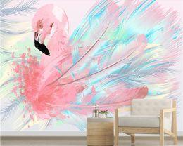 Discount flamingo paintings - Custom painting 3d wallpaper papel de parede 3d wallpaper Nordic tropical plants flamingo background wall paper mural