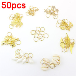 Discount left hand hair - 50Pcs Gold Shell Hands Leaves Star Conch Snowflake Pendant Charms Rings Set Hair Clips For For Braid Hair Accessories