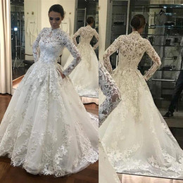 $enCountryForm.capitalKeyWord Australia - 2019 Glamorous Long Sleeve 3D Flowers Lace Wedding Dresses High Neck Full Appliqued Covered Buttons Plus Size Bridal Wedding Gowns BC1902