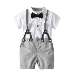 Three Piece Suit Bow Australia - Boy White Shirt Bib Bow Tie Suit Set Kids Gentleman Three-piece Suit Baby Birthday Party Dress Children's Suit Set Kids Clothing
