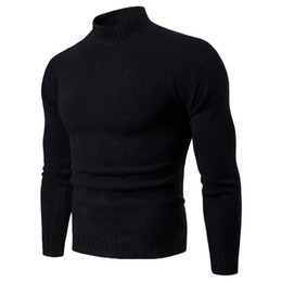 Clothing Dropshipping Australia - Dropshipping Mens Sweaters 2018 Winter Solid Color Turtleneck Sweater Men Clothing Brand Knitted Pullover Men Sweater pull homme
