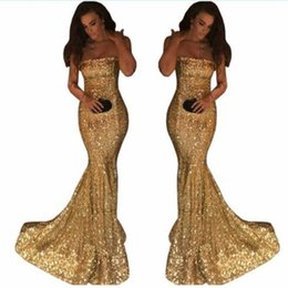 Chinese  Sequined Gold Prom Dresses Strapless Sweep Train Simple Mermaid Evening Dress Custom Made Back Zipper Cheap Cocktail Party vestidos manufacturers