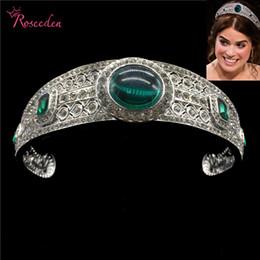 Tiara Bridal Accessories Crown Hair Australia - Vintage Green Rhinestone Princess Eugenie Tiara Crystal Bridal Royal Crown Diadem Wedding Hair Accessories Jewelry Re3196 Y19051302