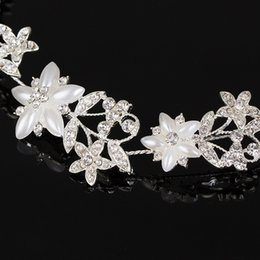 Cheap Hair Accessories For Wedding Australia - Cheap Jewelry Silver Plated Wedding Hair Accessories Pearl Flower Bendable Headband Crystal Floral Hair Pin Tiara for Women