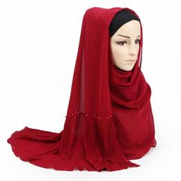 Design Shawl Chiffon UK - 23 color bubble chiffon peals scarf scarves pleated plain shawls women solid muslim Hijab essencial headband foulard new design