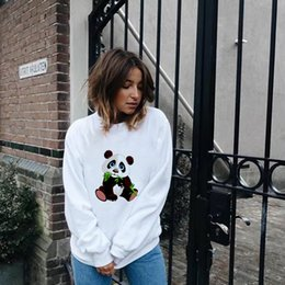 women panda tee NZ - Casual Kawaii Panda Kpop Hoodies Sweatshirt Women Clothes 2019 Animal Graphic Print Harajuku Long Sleeve Autumn Pullove Tops Tee