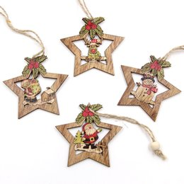 Gift Craft Christmas Ornament Australia - 4PCS Christmas Star Wooden Pendants Ornaments Xmas Tree Ornament DIY Wood Crafts Kids Gift for Home Christmas Party Decorations