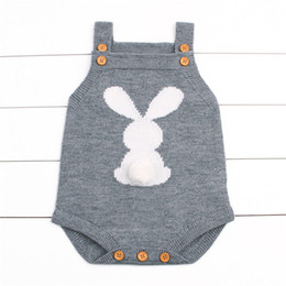 long raglan sweater UK - 2017 Newborn Baby Boys Girls Rabbit Knitting Wool Sleeveless Bodysuit Jumpsuit Outfits Cute Sweater Anime Clothing