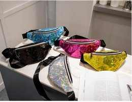 Holiday Packs Australia - Sequin Fanny Pack Mermaid Glitter Waist Bag Shiny Beach Travel Handbag Girls Outdoor Bum Bag Cosmetic Bags for Party Outdoor Sport
