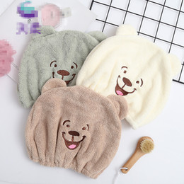 Bored Hair Australia - Happy Bear Adult Child Hair Towels Bathroom Super Absorbent Quick-drying Microfiber Towel Soft Coral Fleece Hair Dry Cap Towels