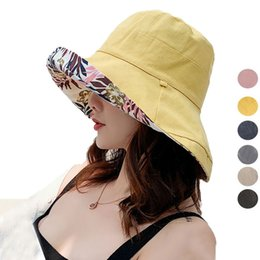 74dca77f6de96 Anti-UV Print Reversible Women Sun Hat With Wide Brim Beach Cap Cotton  Linen Ladies Foldable Panama Hat Female Spring Bucket Hats 2019