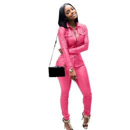 $enCountryForm.capitalKeyWord UK - Sexy Pu Two Pieces Set Pockets Women Turn-Down Collar Long Sleeve Jacket Top And Pencil Pants Outfits Pu Leather Suit