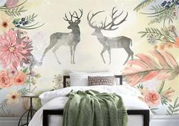 $enCountryForm.capitalKeyWord Australia - Custom 3D Wallpaper Design Flowers Deer Photo Kitchen Bedroom Living Room Wall Murals Papel De Parede Para Quarto