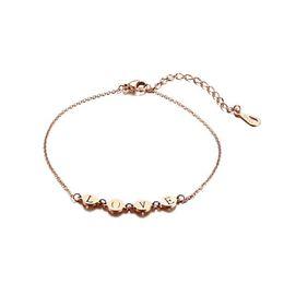 $enCountryForm.capitalKeyWord UK - Dainty Metallic Love Anklet for Women Rose Golden Stainless Steel Ankle Girl Foot Jewelry Adjustable