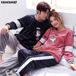 70b6202dc 2018 Winter Couples Thick Warm Flannel Pajamas Sets for Women Long Sleeve  Coral Velvet Pyjama Cartoon Homewear Men Home Clothing