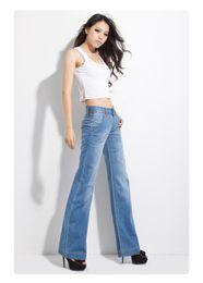 Wholesale thin denim fabric for sale – denim Women Summer Thin Fabric Wide Leg Jeans plus size girl s loose Denim Flare Pants Boot Cut Long Trousers