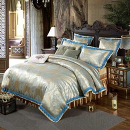 $enCountryForm.capitalKeyWord Australia - Luxury Satin Silky Bedding Duvet Cover Bedskirt Bedspread Set European Luxury Style Zipper Cloure King Queen Size 4 6 Pieces