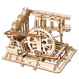 Diy Kits Toy Australia - Robotime Waterwheel Coaster Shape 3D Painting Model Building Kits Puzzle DIY Assemble Stem Learning Toys Gift for Children Y190530