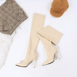 stretch canvas prints Canada - 2019 Winter Stretch PU leather Women long boots Elegant pointed toe Thigh high boots Autumn High heels Over the knee boots shoes