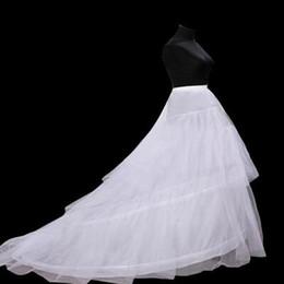 Venta al por mayor de Nuevo tren largo vestidos de novia 3 aros enagua Underskirt crinolina Underdress Slip mujeres vestido de falda enagua