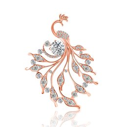 Personality brooches online shopping - High quality Fashion Personality Phoenix Rose Gold High grade Color Rhinestone Brooch Pin Brooch