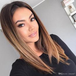 $enCountryForm.capitalKeyWord Australia - Lace Front Human Hair Wigs For Black Women Brazilian Straight Bob Lace Front Wig Ombre Blond Human Hair Wig Free Shipping