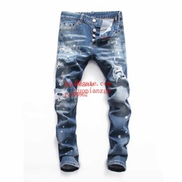 men pants italy Australia - 2019 Top quality mens jeans Shredded slim straight pants man brand clothes for mens Pants Fashion Holes Trousers Italy man clothes YDL-10