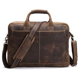 2fe97cc2397d Crazy Horse Genuine Leather Men Business Briefcase Shoulder Portfolio Laptop  Bag Fashion Document Bag Cow Leather Office Handbag