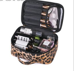 $enCountryForm.capitalKeyWord Australia - Leopard Print Makeup Case Travel Cosmetic Bag Leather Organizer Bag with Adjustable Divider Storage Case for Girl Women Waterproof Wash Bag