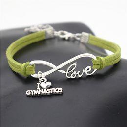 $enCountryForm.capitalKeyWord Australia - Infinity Love I Heart Gymnastics Pendant Charm Bracelets Green Leather Rope Bangles for Women Men Fit Jewelry DIY Making Accessories Gifts