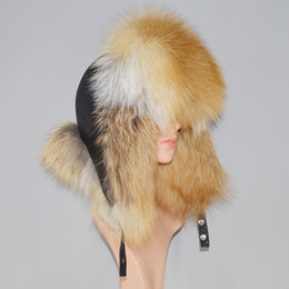 man fur hat UK - Unisex 100% Natural Fox Fur Hat Russia Warm Fluffy Real Fox Fur Bomber Hats Men&women Luxurious Handmade Genuine Leather Cap