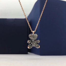 White Bear Charms Australia - 2019 the latest women's lively, charming and childlike necklace 3D three-dimensional teddy bear clavicle chain jewelry is full of charm