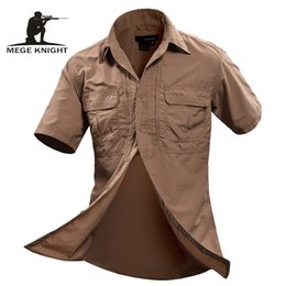 casual military clothing NZ - heap Casual s MEGE Summer Men Shirt Military Men Short Sleeve Shirt Casual Shirt Mens Brand Social Clothing Chemise Homme Camisa Masculin...