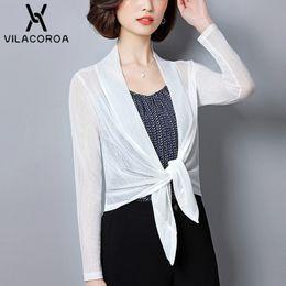 $enCountryForm.capitalKeyWord Australia - Thin Long Jacket Women Short Sleeve Shrug Bolero Casaco Feminino Slim Woman Open Stitch Womens Coats Outer Q190509