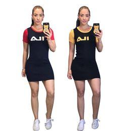 $enCountryForm.capitalKeyWord Australia - Women FIL Printing Brand Designer Dresses Summer Short Dress Girls Sports Bodycon Skirt Designer Sportswear Short Sleeve Dresses C52803