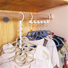 Plastic Clothes Hooks Australia - Multi Storey Clothes Hanger Five Stackable Rack Made Of Plastic Windproof Clothing Racks Coat Dring Hangers Double Hooks Wardrobe zhao