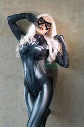Black Cat Symbiote Woman Cosplay Costume MJ Jamie Spider Costumes Mary Jane 3D Print Black Spider-woman Bodysuit on Sale