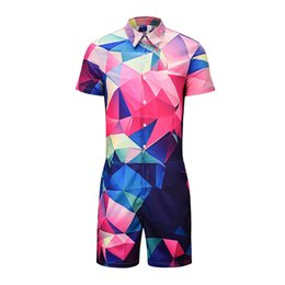 8aaa80160dc596 Gradient Plaid Block Men Romper 3d Jumpsuit Playsuit Harajuku Harem Cargo  Overalls One Piece Jumpsuit Hawaiian Shirts Men s Sets