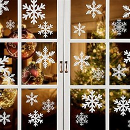 white christmas window stickers NZ - Christmas Snowflake Sticker Red White Snowflake Window Sticker Christmas Decoration Static Glass Wall