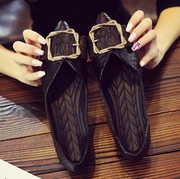 $enCountryForm.capitalKeyWord Australia - Hot Sale Women Pointed Toes loafer Valentine's Dating Shoes soft sole Metal square buckle Maternity Work Party shoes Slip-On flats shoes