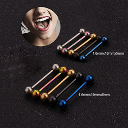 $enCountryForm.capitalKeyWord Australia - Imixlot 5pcs lot 14G Tongue Piercing Body Jewelry 316L Stainless Steel Barbell Industrial Piercing Nipple Ring Tongue Stud
