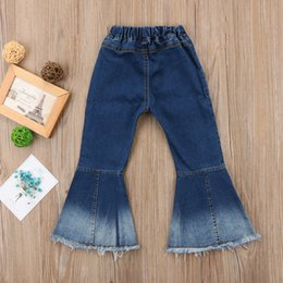 girls new jeans embroidery Canada - 2018 New Toddler Infant Child Kids Baby Girls Denim Bell-Bottom Long Pants Hit Color Wide Leg Jeans Trousers 2-7T