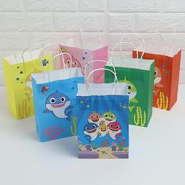 $enCountryForm.capitalKeyWord Australia - Baby Shark Kraft Paper Bag Cartoon Shark Gift Bag Birthday Baby Shower Paper Bags Cute Christmas Party Gift Bags Kid Handbag